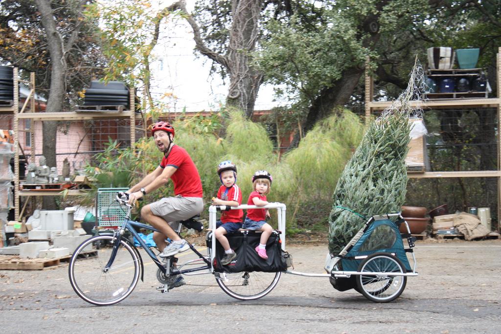 перевозка детей и ёлки на велосипеде
